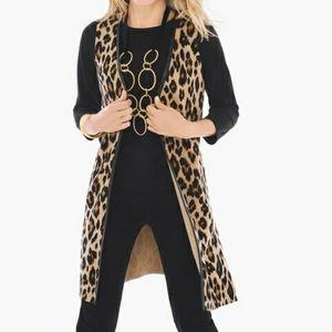 Leopard Print Knit Duster Sweater Vest Animal Work